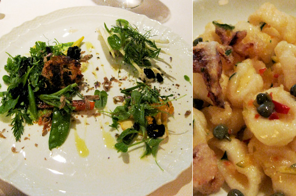 Dinner at Del Posto — A lovely salad and calamari
