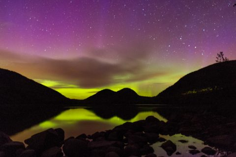 Aurora Borealis and The Bubbles at Jordan Pond, Acadia National Park